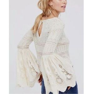 FREE PEOPLE Once Upon a Time Crochet Bell Sleeve